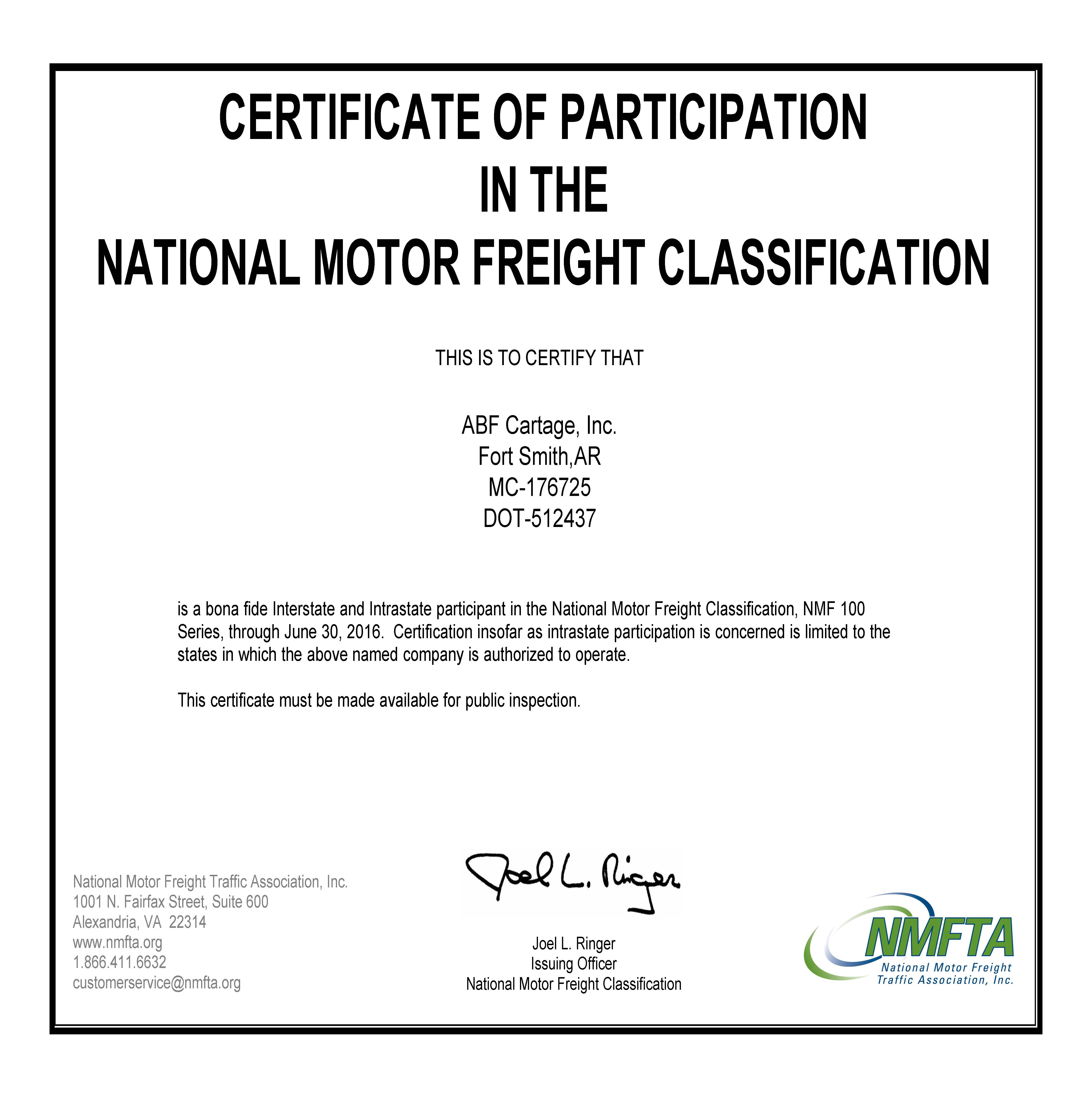 Abf freight forms and documents arcbest nmfc certificate of participation abf cartage inc falaconquin
