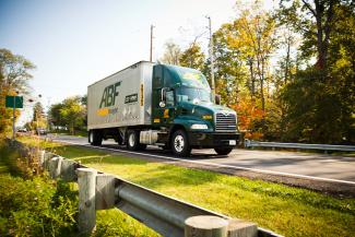 ABF Freight truck and trees